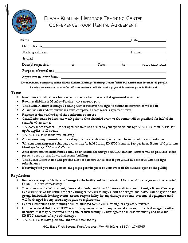 Conference Room Rental Agreement Letter