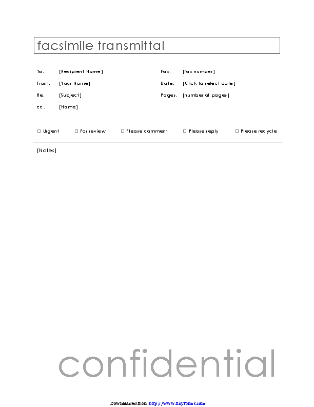 Confidential Fax Cover Sheet 2