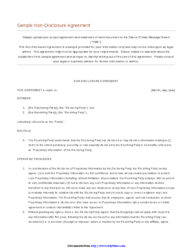 Confidentiality Agreement Sample 1