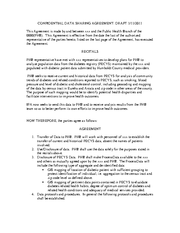 Confidentiality Data Sharing Agreement