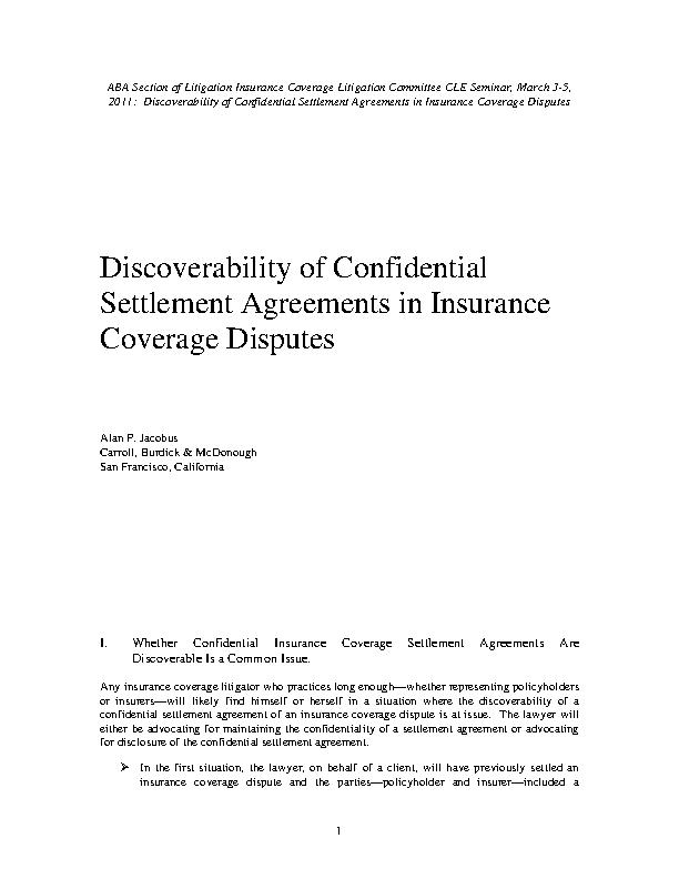 Confidentiality Settlement Agreement For Insurance
