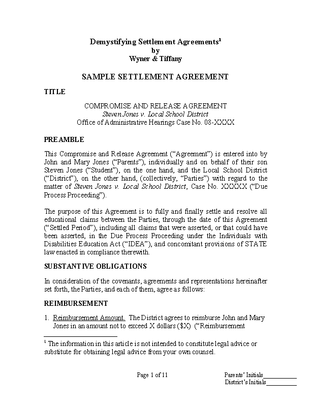 Confidentiality Settlement Agreement Sample Template