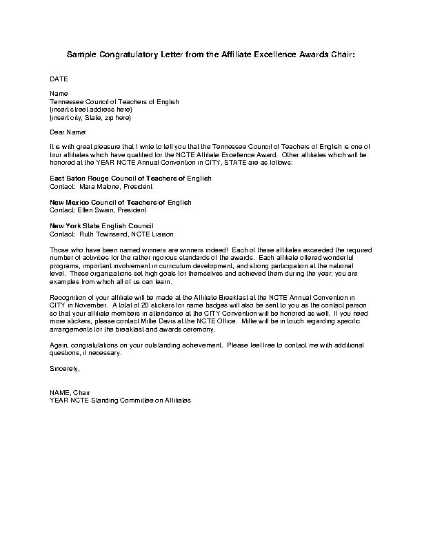 Congratulatory Letter Example