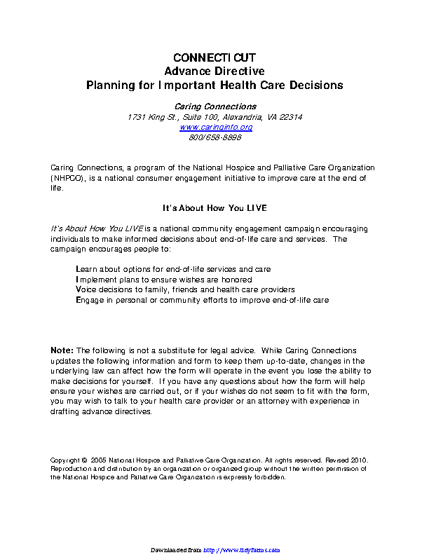 Connecticut Advance Health Care Directive Form 2