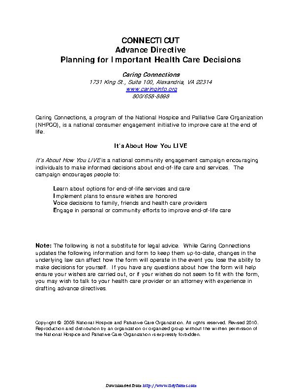 Connecticut Advance Health Care Directive Form 2