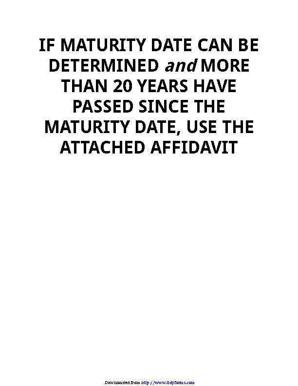 Connecticut Affidavit Current Owner Is Mortgagorentity Form