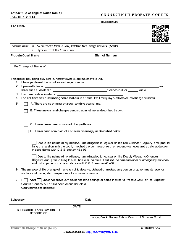 Connecticut Affidavit Re Change Of Name Adult Form