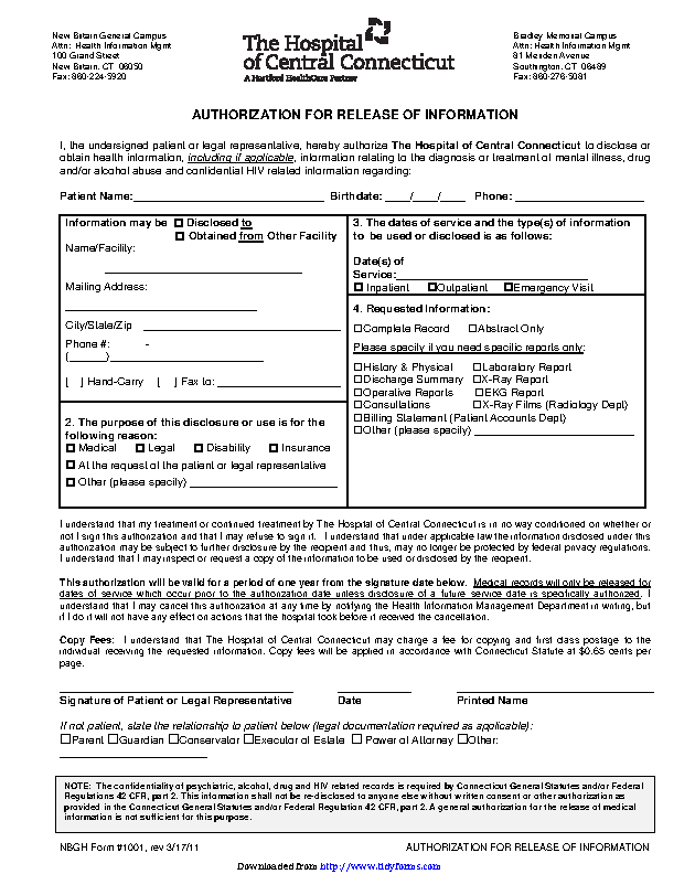 Connecticut Authorization For Release Of Information Form