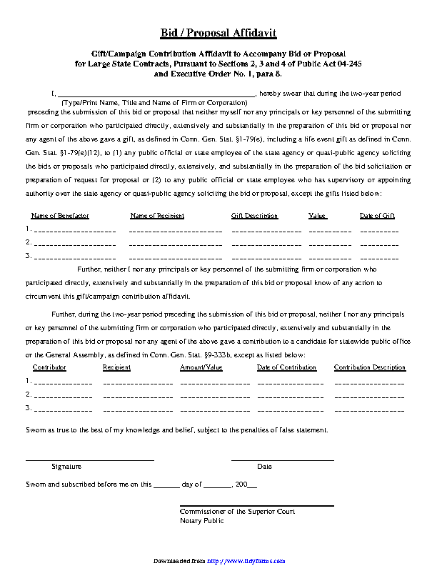 Connecticut Bid Proposal Affidavit Form