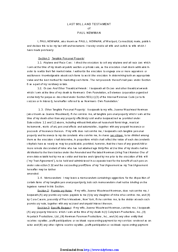Connecticut Last Will And Testament Sample