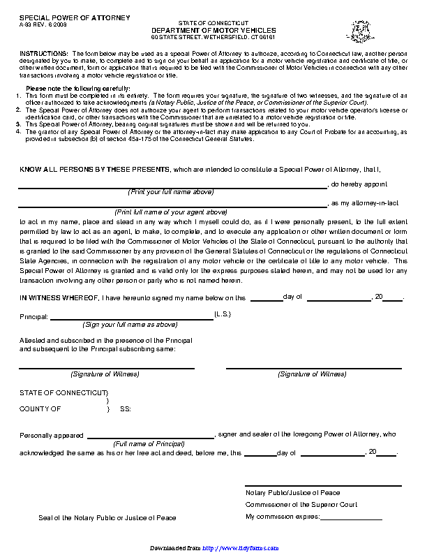 Connecticut Motor Vehicle Power Of Attorney Form
