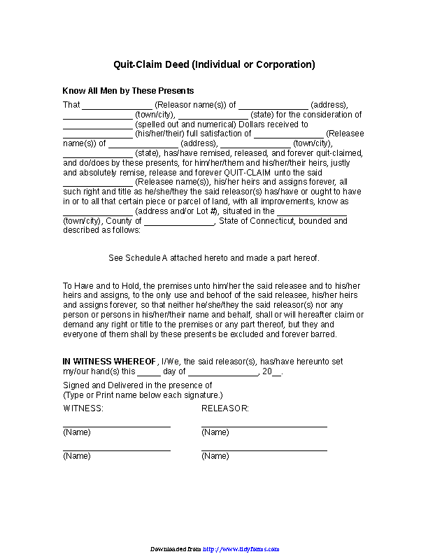 Connecticut Quitclaim Deed Form