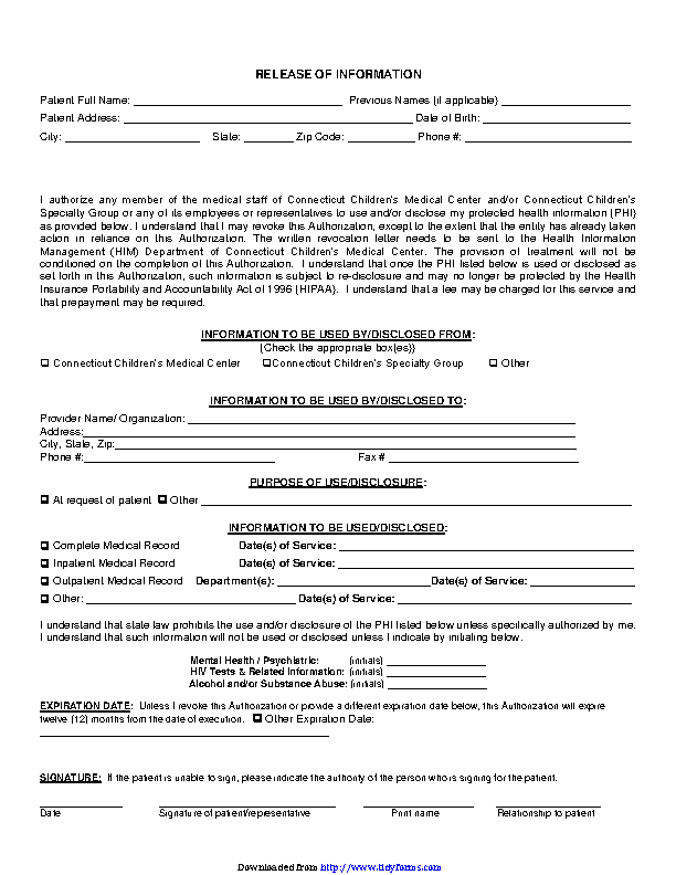 Connecticut Release Of Information Form