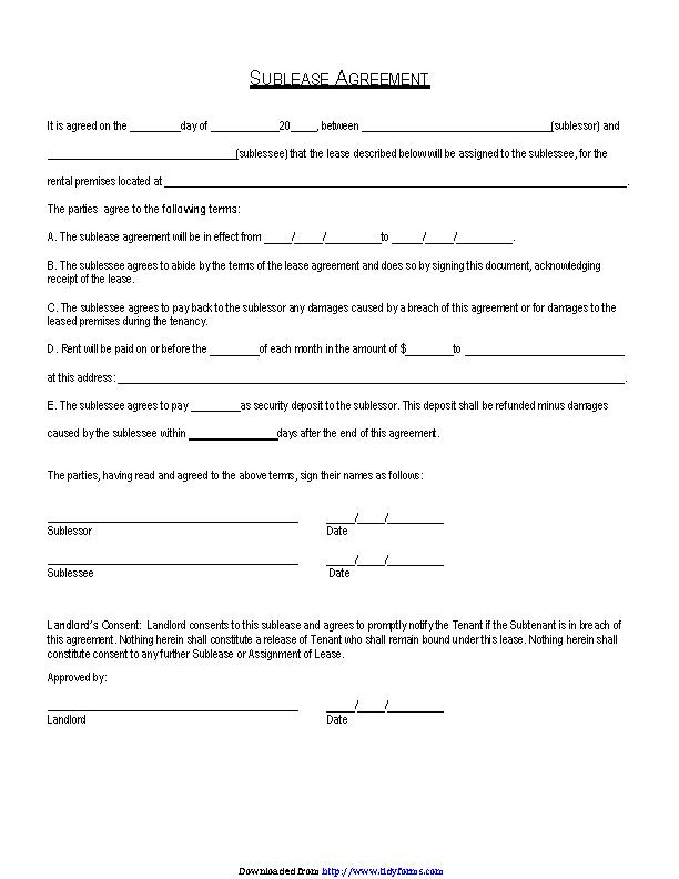 Connecticut Sublease Agreement Form