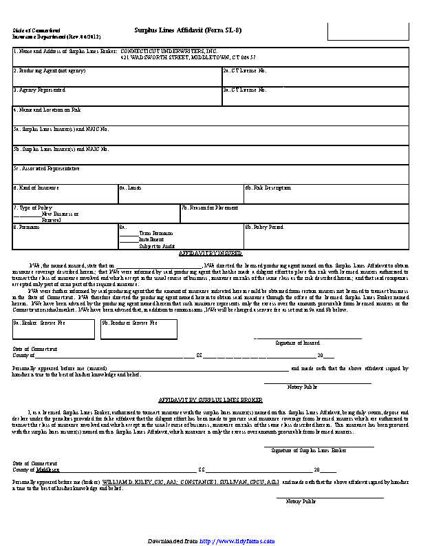 Connecticut Surplus Lines Affidavit Form