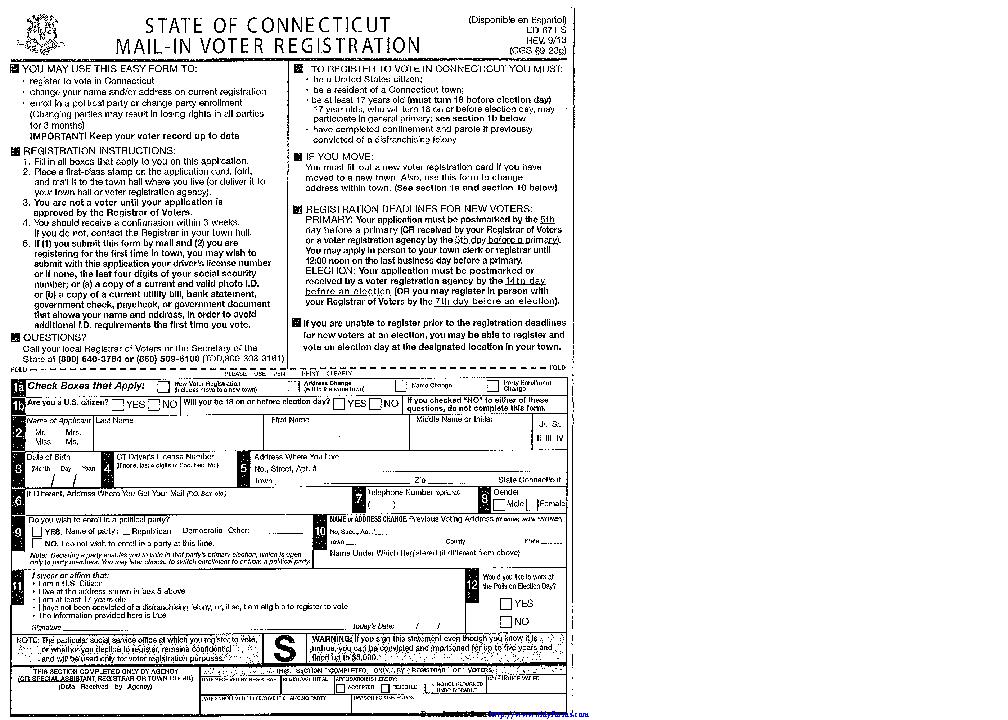 Connecticut Voter Registration Form