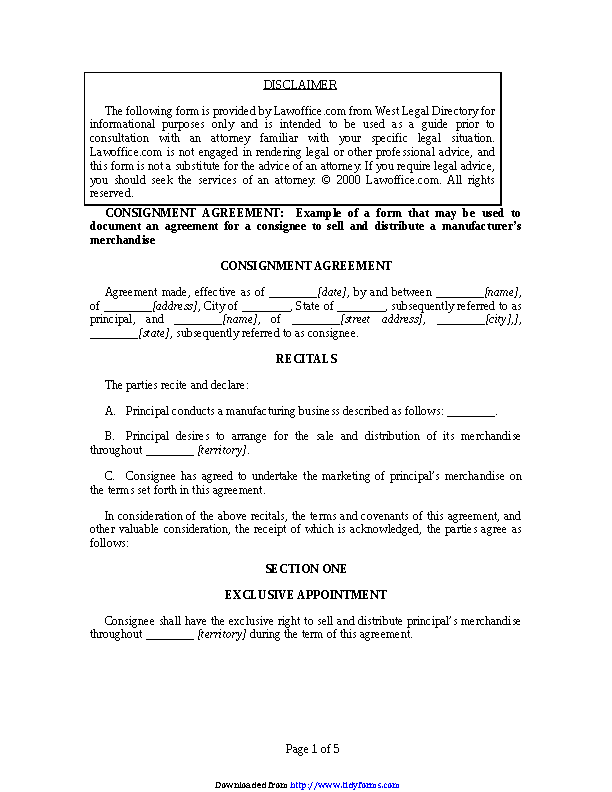 Consignment Agreement Template 1