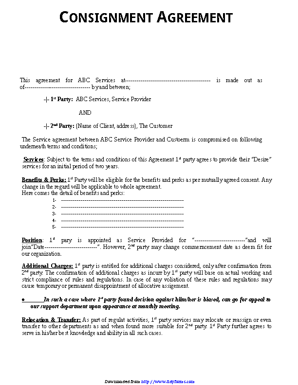 Consignment Agreement Template 2