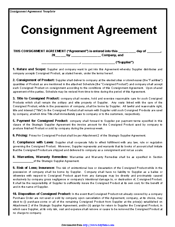 Consignment Agreement Template 3
