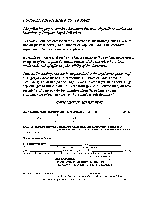 Consignment Contract