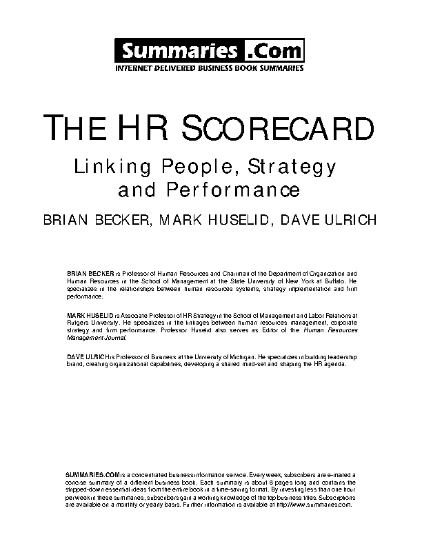 Construction Hr Scorecard Sample Template