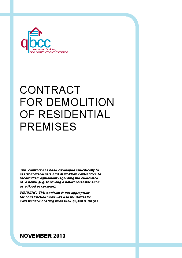 Contract For Demolition Of Residential Premises