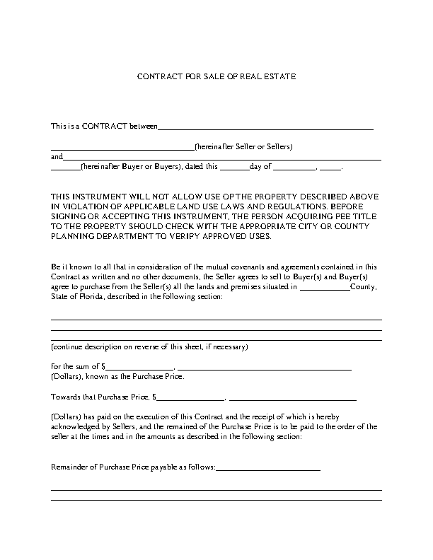 Contract For Sale Of Real Estate