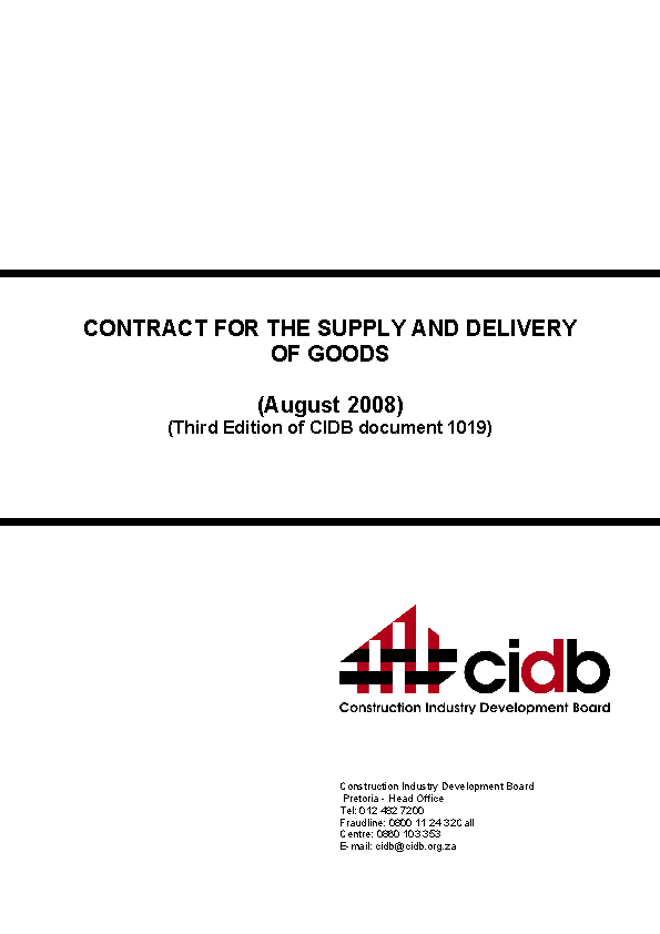 Contract For The Supply And Delivery Of Goods