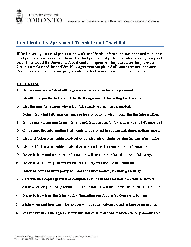 Contractor Confidentiality Agreement Template And Checklist Pdfsimpli
