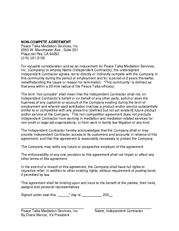 Contractor Non Compete Agreement5
