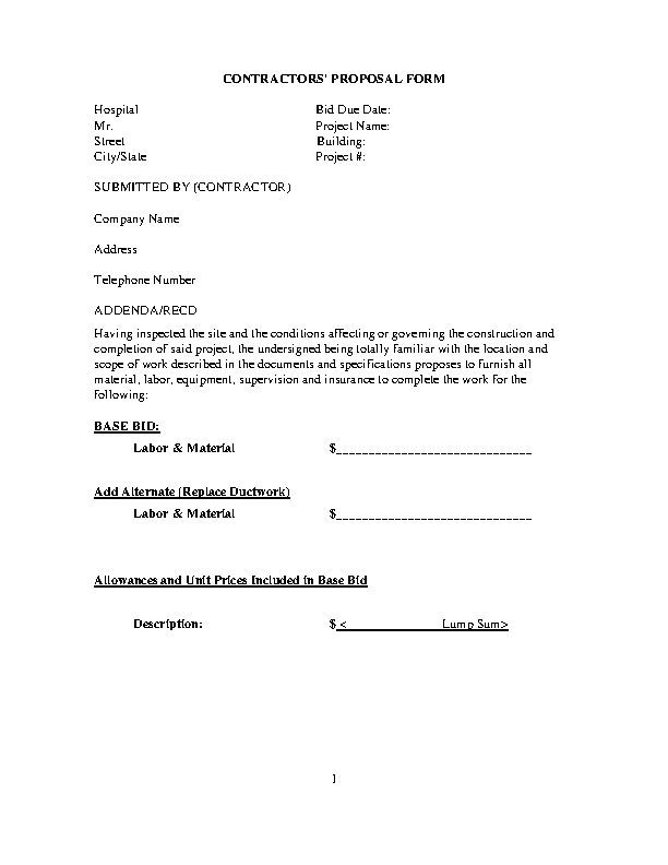 Contractors Proposal Form Template