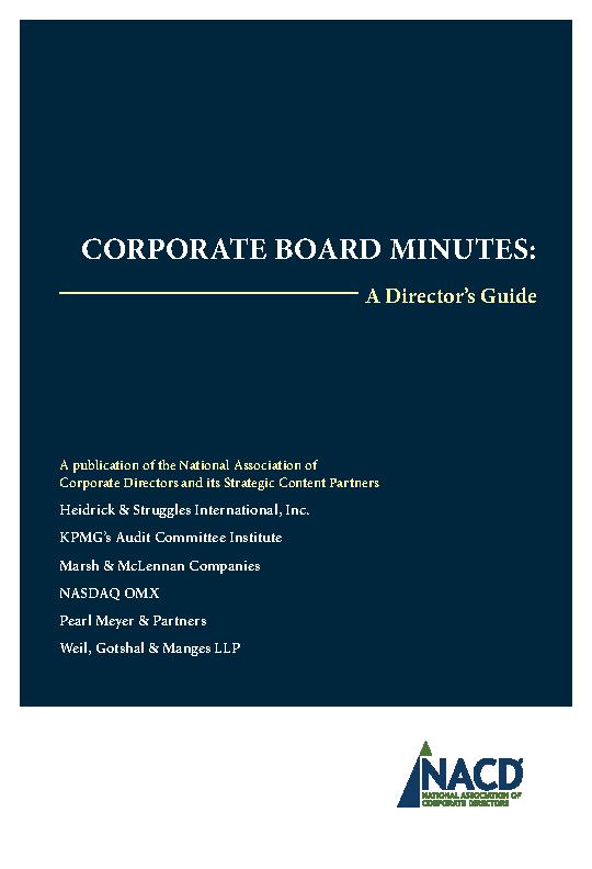 Corporate Board Minutes