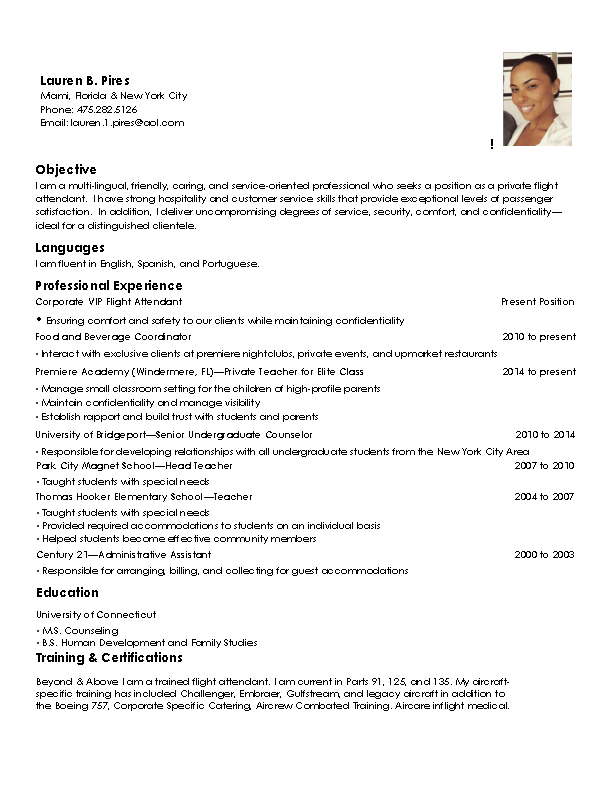 Corporate Flight Attendant Resume