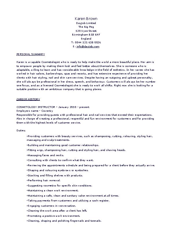 Cosmetology Student Resume