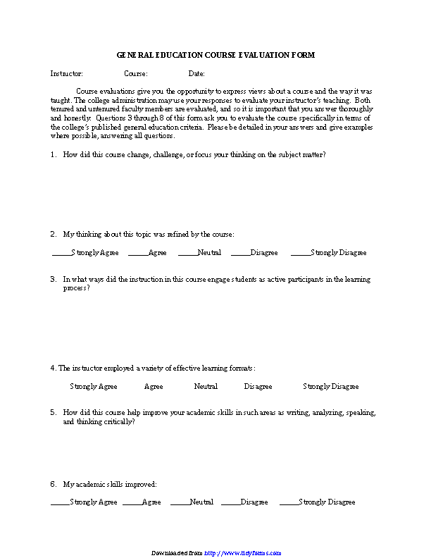 Course Evaluation Form 2
