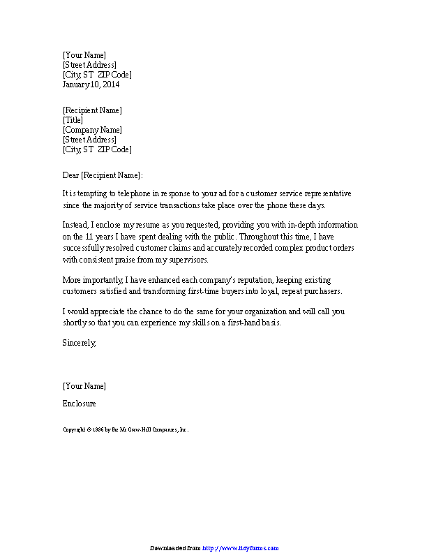 Cover Letter For Experienced Customer Service Representative