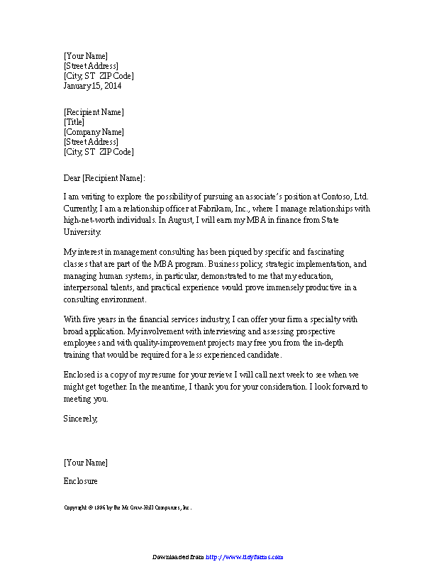 Cover Letter For Management Consultant Resume - PDFSimpli