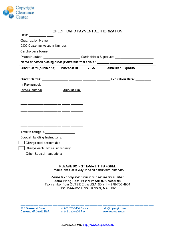 Credit Card Payment Authorization Template 2