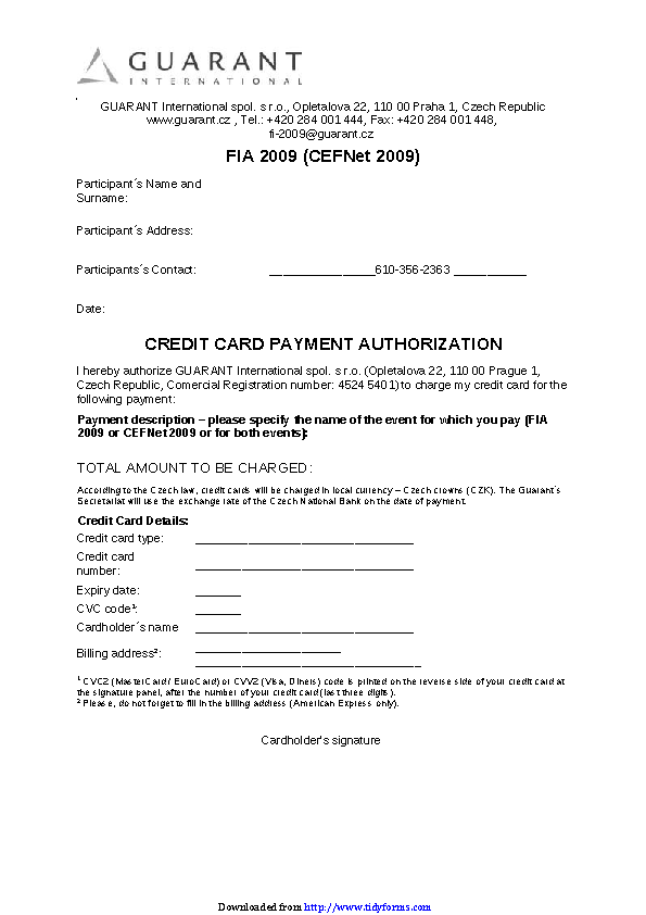 Credit Card Payment Authorization Template 3