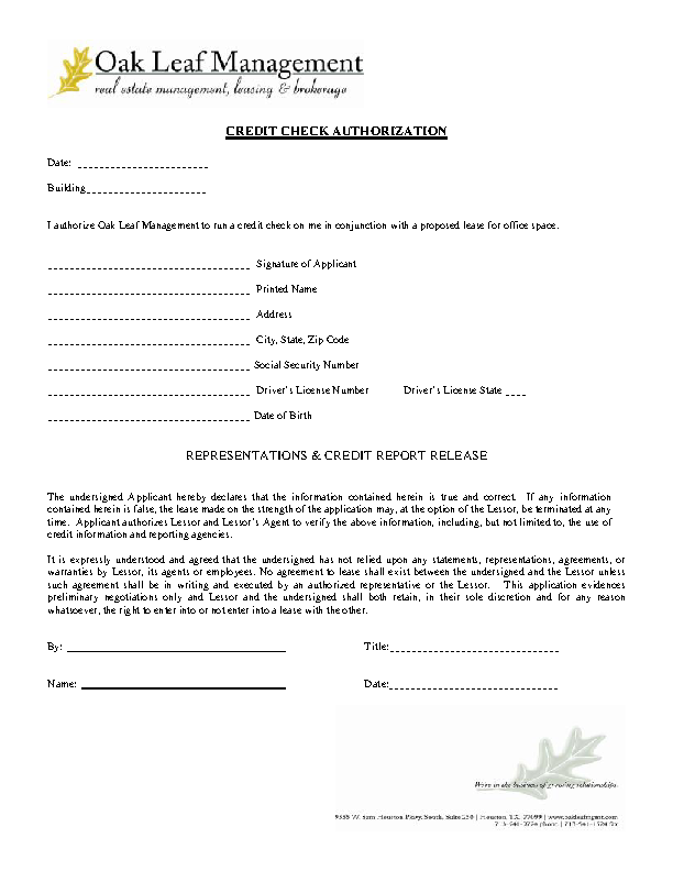 Credit Check Authorization Template