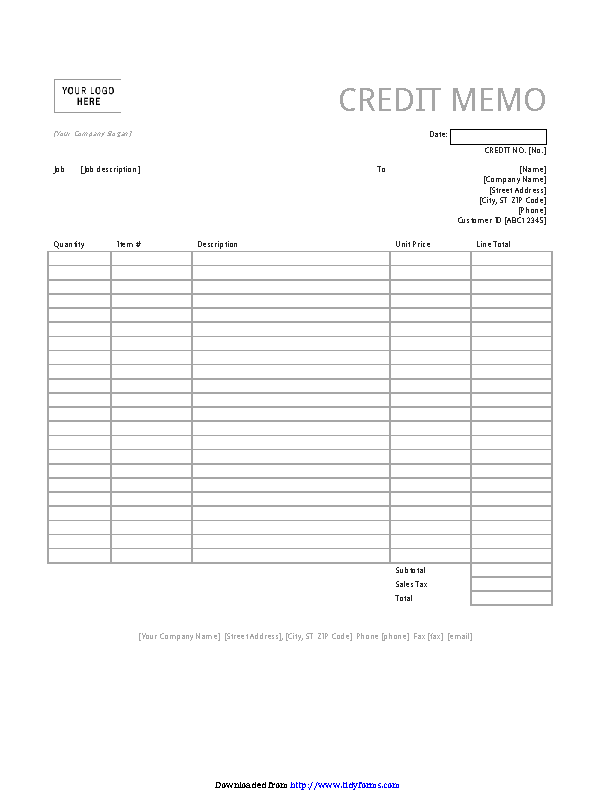 Credit Memo Simple Lines Design