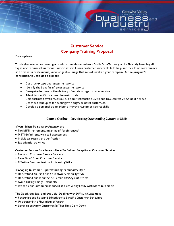 Customer Service Company Training Proposal Template