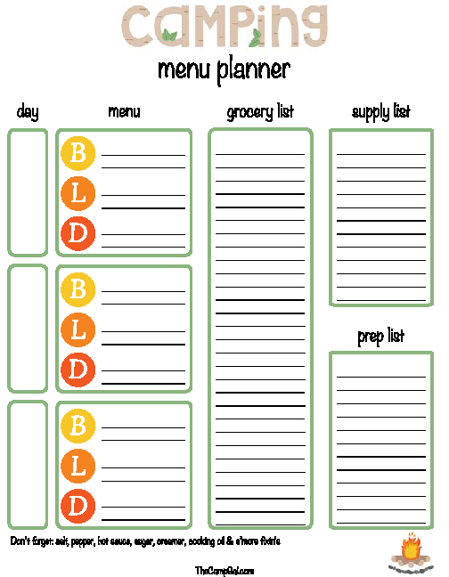 Daily Camping Menu Planner Template