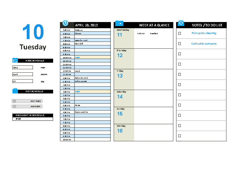Daily Work Schedule Planner Template