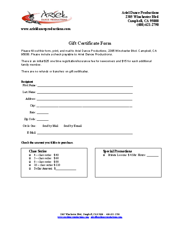 Dance Gift Certificate Template1