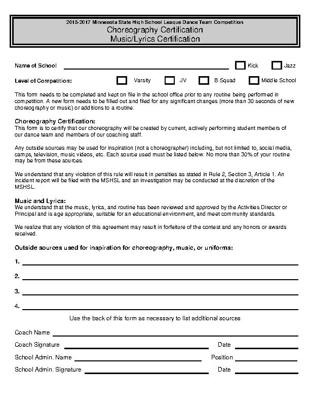 Dance Team Certificate Template