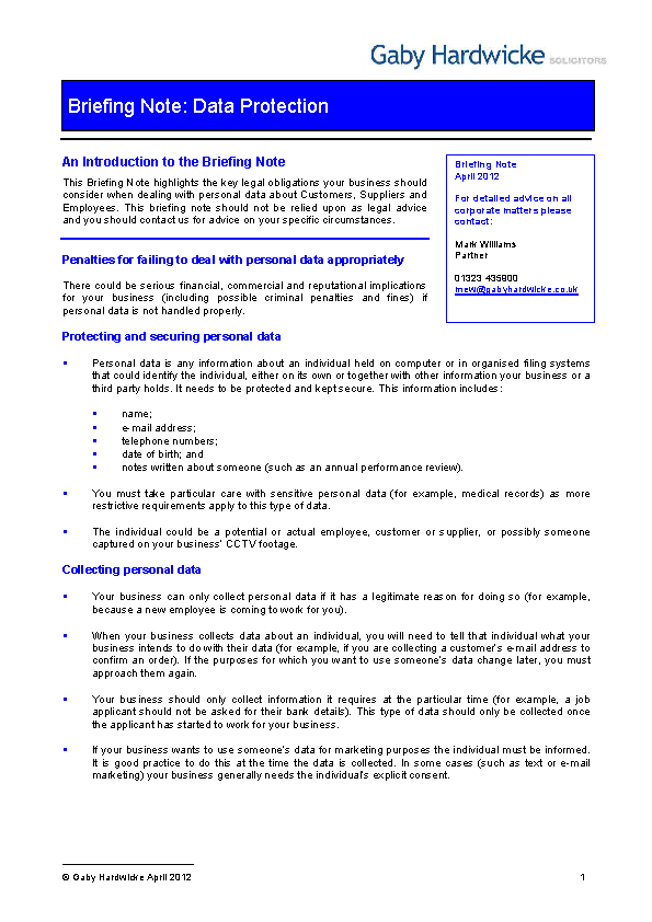 Data Protection And Research Briefing Note Template