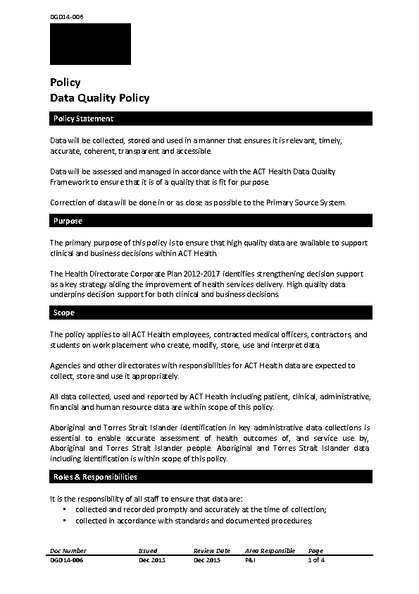 Data Quality Policy