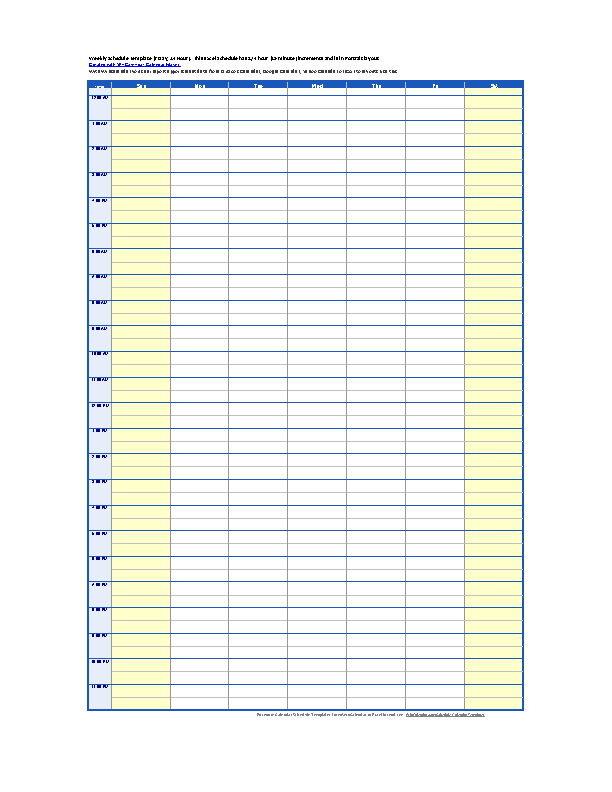 Day Time Schedule Template