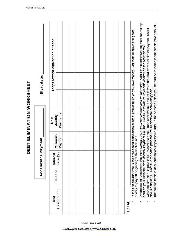 Debt Elimination Worksheet